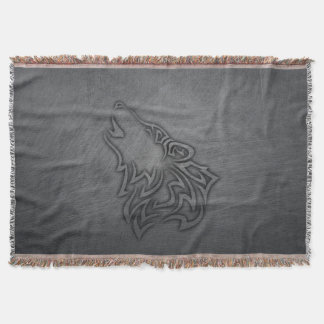 Howling Wolf Tribal Steel Throw Blanket