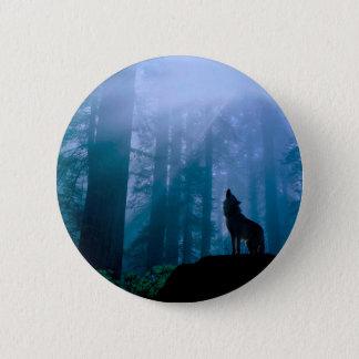 Howling wolf - wild wolf - forest wolf 2 inch round button
