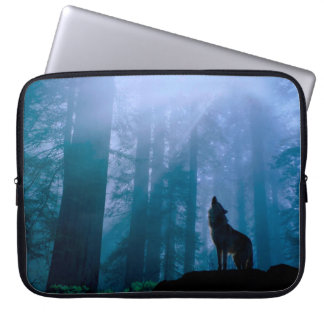 Howling wolf - wild wolf - forest wolf laptop sleeve