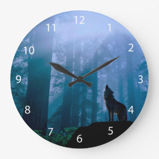 Howling wolf - wild wolf - forest wolf large clock