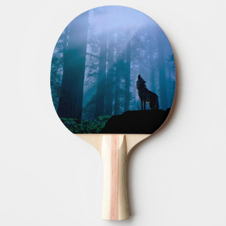 Howling wolf - wild wolf - forest wolf ping pong paddle