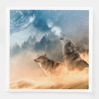 Howling Wolfes Foto Paper Napkin