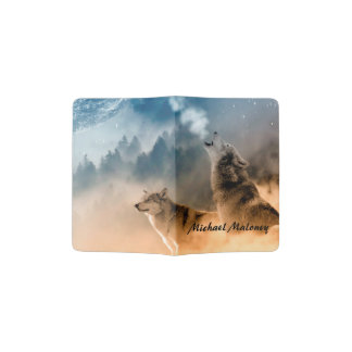 Howling Wolves Foto Monogram Passport Holder