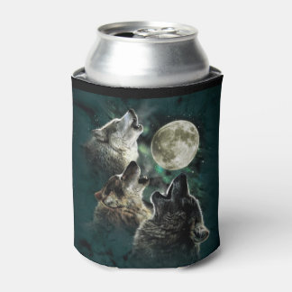 Howling Wolves Full Moon Starry Sky Can Cooler