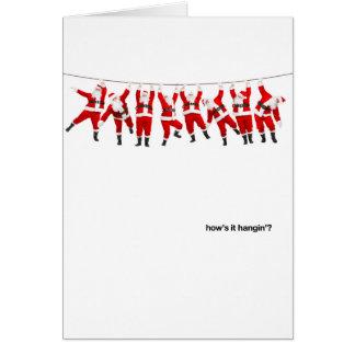 How's it Hangin' Santas Greeting Card