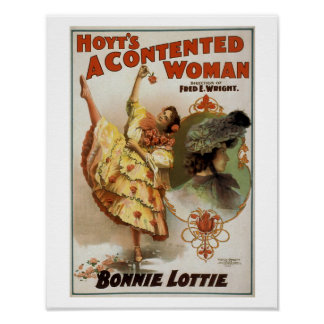 Hoyt's A Contented Woman Vintage Theatre Poster