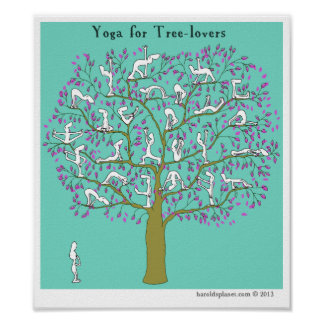 """HP2356 """"Harold's Planet"""" """"Yoga for tree-lovers"""" Poster"""