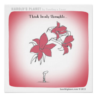 """HP5021 """"Harold's Planet"""" """"Think lovely thoughts"""" Poster"""