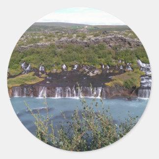 Hraunfossar waterfall in Iceland round sticker