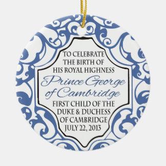 HRH Prince George Blue/White Scroll Ceramic Ornament