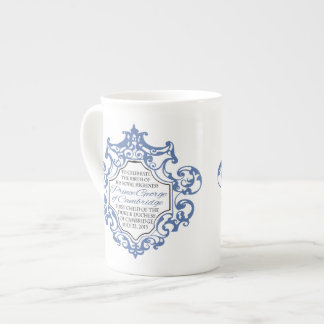 HRH Prince George Blue/White Scroll Tea Cup
