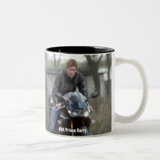 HRH Prince Harry motorbike Two-Tone Coffee Mug