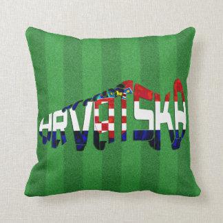 Hrvatska Croatia Soccer Calligram Throw Pillow