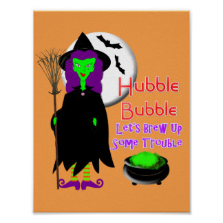Hubble Bubble Witches Spell Spooky Halloween Poster
