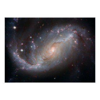 Hubble's View of Barred Spiral Galaxy NGC 1672 Poster