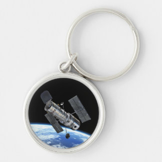Hubble Space Telescope In Earth Orbit NASA Photo Silver-Colored Round Keychain