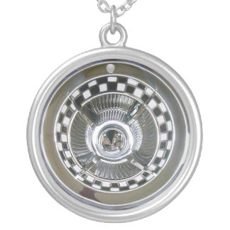 Hubcap Silver Plated Necklace