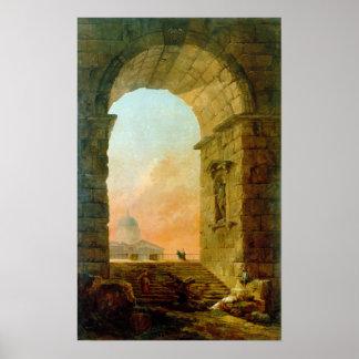 Hubert Robert Landscape with an Arch St. Peter's Poster