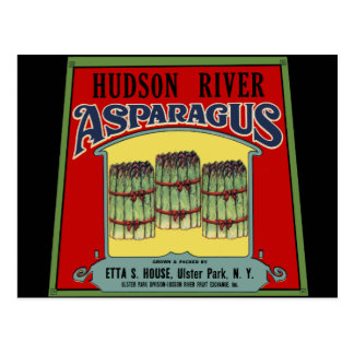 Hudson River Asparagus Label Postcard
