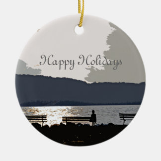 Hudson River Sunset Ceramic Ornament