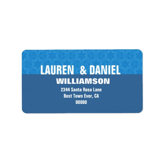 Hues of Blue Stars Modern Simple G107 Label