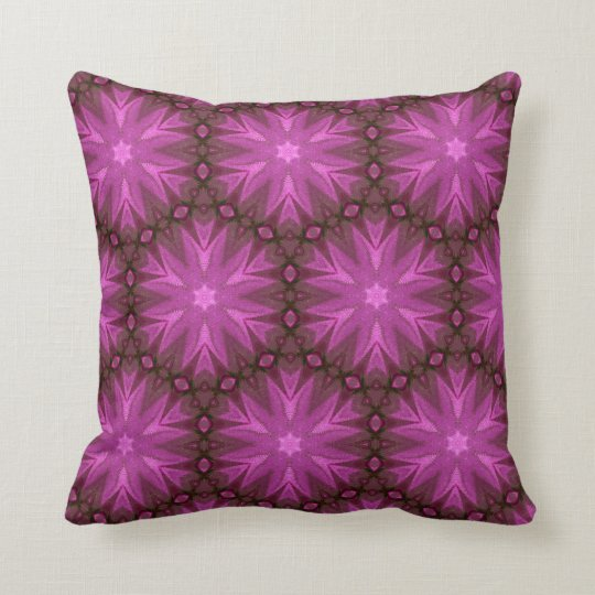 Hues of Pink and Magenta Floral Pattern 016 Throw Pillow