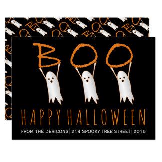 Huez ! fantômes mignons Halloween heureux moderne Carton D'invitation 12,7 Cm X 17,78 Cm