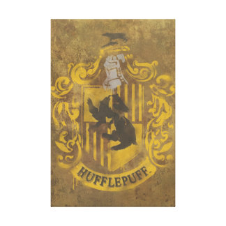 Hufflepuff House Crest Stretched Canvas Print