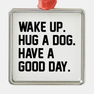 Hug a Dog Metal Ornament