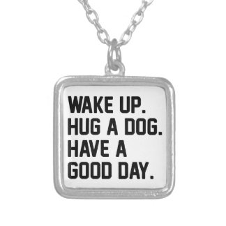 Hug a Dog Silver Plated Necklace