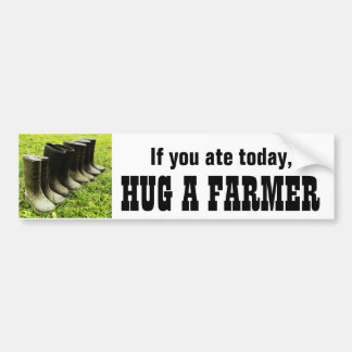 Hug a FARMER Bumper Sticker