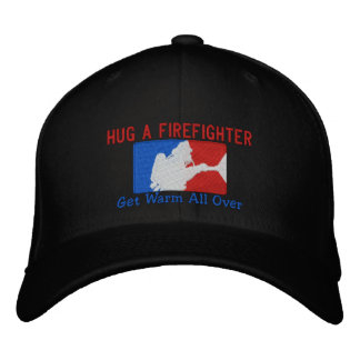 Hug A Firefighter Humorous Custom Embroidery Embroidered Hats
