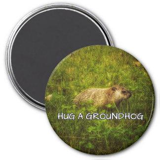 Hug a groundhog magnet