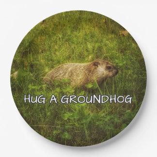 Hug a groundhog plates
