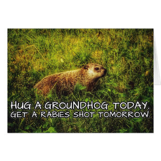 Hug a groundhog today. Get a rabies shot tomorrow. Card