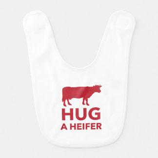 Hug a Heifer Funny Dairy Farm Baby Bib