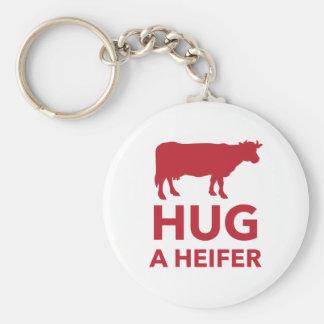 Hug a Heifer Funny Dairy Farm Basic Round Button Keychain