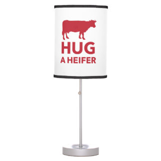 Hug a Heifer Funny Dairy Farm Desk Lamp