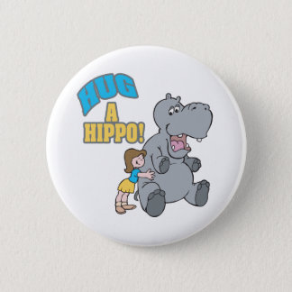 hug a hippo cute cartoon graphic 2 inch round button