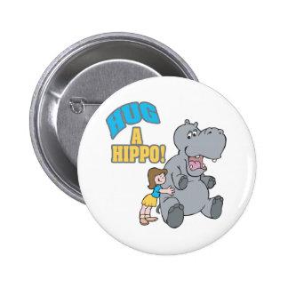 hug a hippo cute cartoon graphic 2 inch round button
