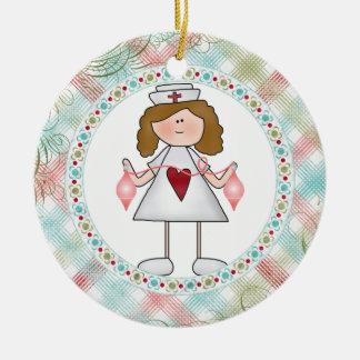 Hug a Nurse Cute Nurse for the Holidays Round Ceramic Ornament