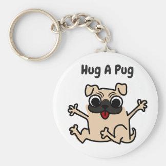 Hug A Pug Dog Keychain
