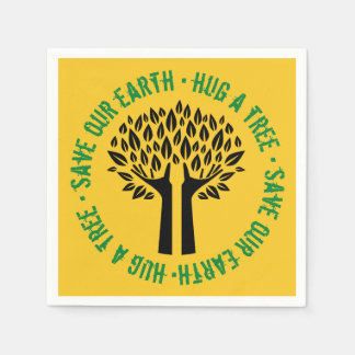 Hug a Tree Save Our Earth Paper Napkin