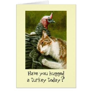 Hug a Turkey Thanksgiving Day Note Card