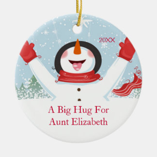 Hug for Aunt Christmas Snowman Ornament