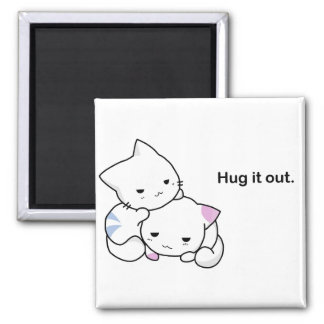 Hug It Out Funny Kittens Cat Cartoon Magnet