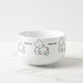 Hug It Out Funny Kittens Cat Cartoon Soup Mug