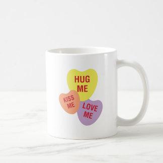 Hug Me Kiss Me Love Me Heart Candy Cluster Mug