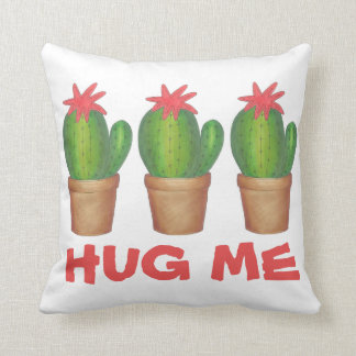 HUG ME Prickly Green Cactus Cacti Flower Pillow