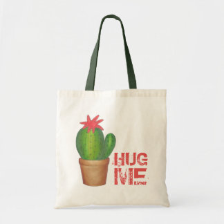 HUG ME Prickly Green Cactus Flower Plant Tote Bag